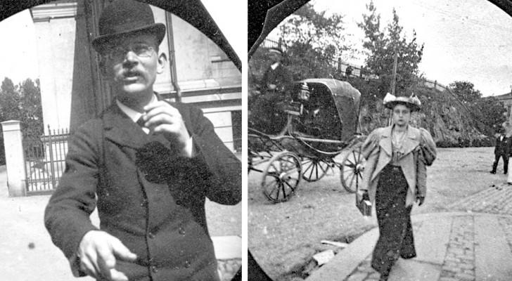 Aan het einde van de 19e eeuw maakte een jongen geheime foto's van voorbijgangers alsof hij een paparazzo was