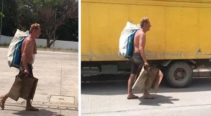 Um homem é forçado a coletar lixo para sobreviver depois que sua namorada gastou todo o seu dinheiro