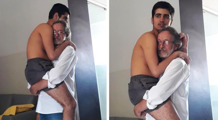 A moving photo which shows a grandfather holding his 17-year-old autistic grandson
