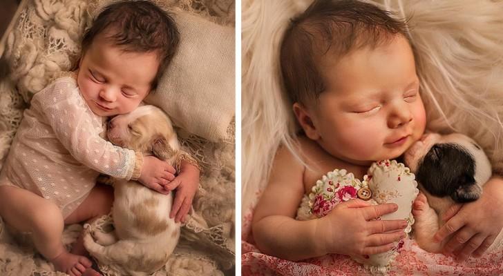 Questa fotografa è riuscita a immortalare tutta la dolcezza di alcuni neonati che dormono con dei cuccioli