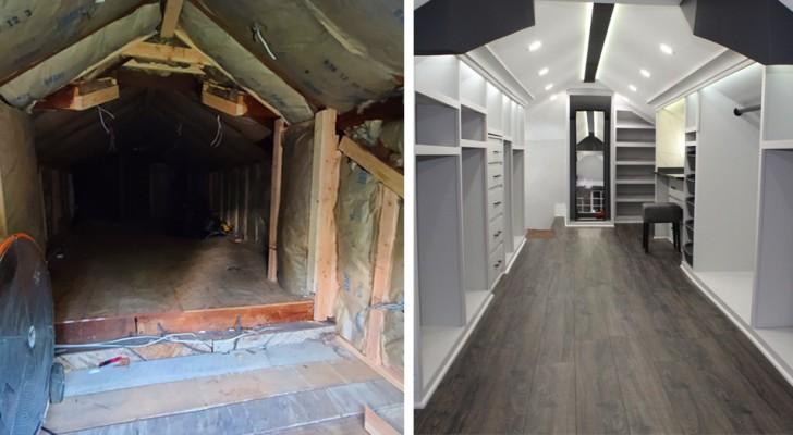 Ein Mann verwandelt einen alten Dachboden in einen riesigen begehbaren Kleiderschrank für seine Frau...