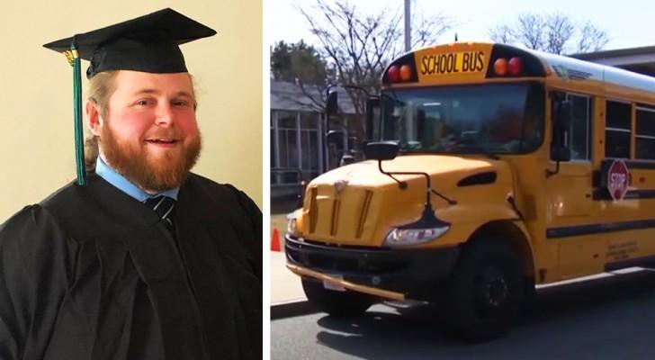 Guida lo scuolabus per anni, ma poi si iscrive all'università motivato dai ragazzi: Vorrei che fossi tu il mio insegnante