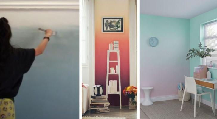 Le idee da cui prendere spunto per dipingere una parete con una sfumatura di colori creando una