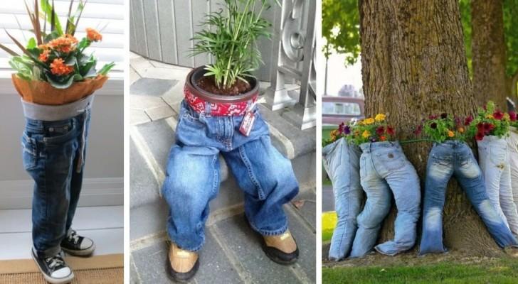 11 proposte stravaganti per trasformare dei vecchi jeans in fioriere super-creative