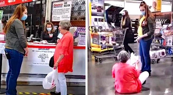 Frau setzt sich in einem Laden auf den Boden und bekommt einen Trotzanfall, weil sie die Maske tragen soll