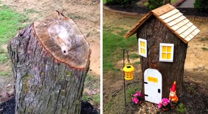 Come trasformare un ceppo d'albero in un'adorabile casina fatata e decorare il giardino con creatività