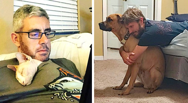 12 photos of men who didn't want an animal in the house but then it brought out their most tender side