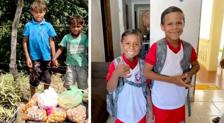 Zwei Brüder verkauften Früchte auf der Straße, um zu überleben. Jetzt gehen sie, dank einer Spendensammlung, zur Schule