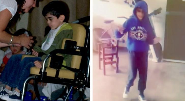 Un joven que padece parálisis cerebral desde su nacimiento logra caminar por primera vez a los 14 años