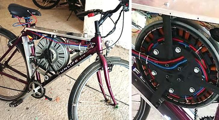 Een jongen maakt met de motor van een wasmachine een elektrische fiets: hij bereikt 65 km/u
