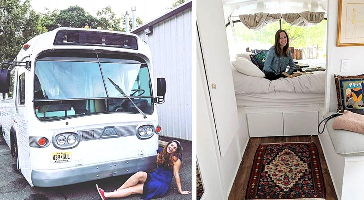 A girl buys an old bus and turns it into an elegant house complete with everything