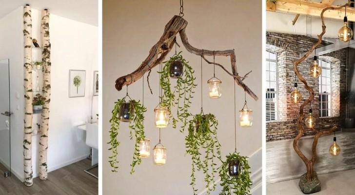 9 décorations et compléments d'ameublement extraordinaires à réaliser avec des branches de bois brut