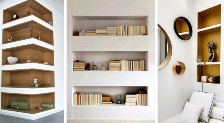 11 proposte una più bella dell'altra per arredare casa con mensole e scaffali in cartongesso