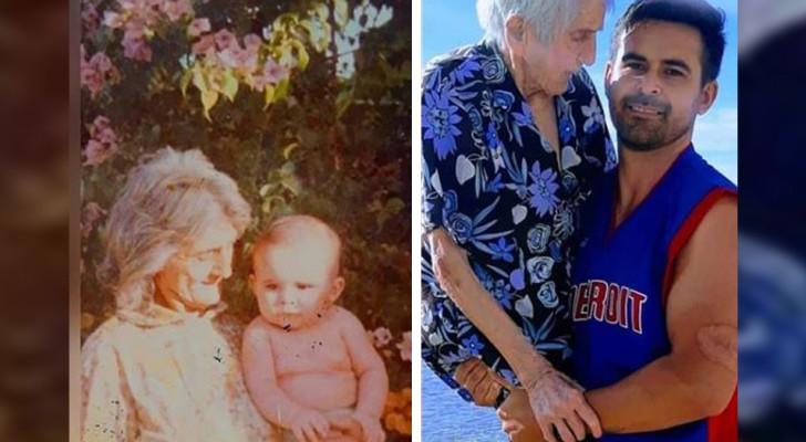 Junger Mann nimmt seine 99 Jahre alte Oma auf den Arm, um ein altes Foto nachzustellen