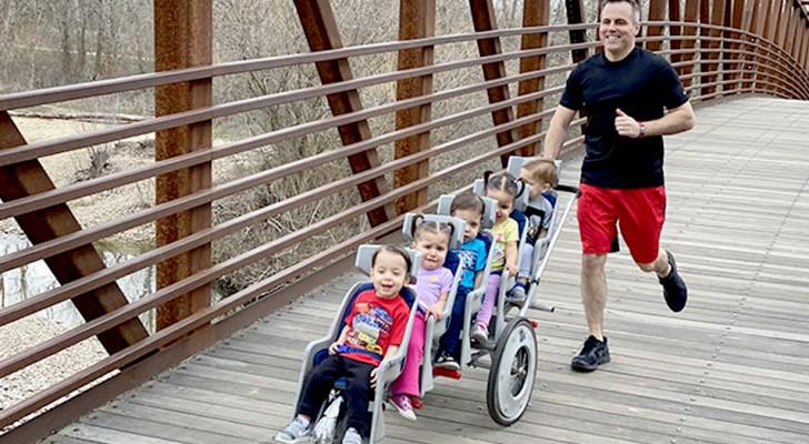 En pappa springer 10 km maraton med sina femlingar i barnvagn och slår världsrekord
