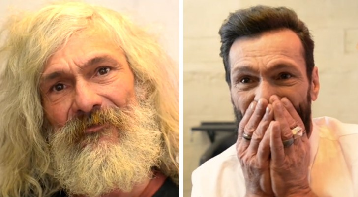 Un barbero generoso le regala una nueva imagen a una persona sin hogar: él llora de felicidad frente a su transformación
