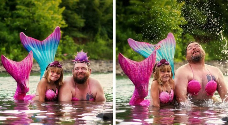 Een meisje vraagt haar vader om zich voor haar verjaardag als een zeemeermin te kleden: hij accepteert en de foto's zijn onvergetelijk