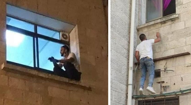 Every evening he climbed up to the hospital window where his mother was hospitalized, to stay close to her until the end