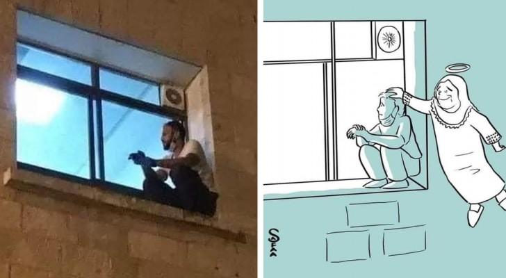 Hij klimt elke dag naar het raam van het ziekenhuis om bij zijn moeder te zijn: een artiest draagt een tekening aan hem op
