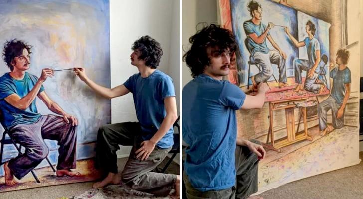 Questo artista ha realizzato una serie di ritratti vertiginosi in cui dipinge se stesso nell'atto di dipingere se stesso