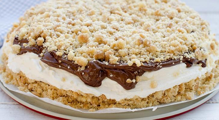 Kruimelcake met hemelse room en nutella: het recept waarbij je de oven en het fornuis niet aan hoeft te zetten