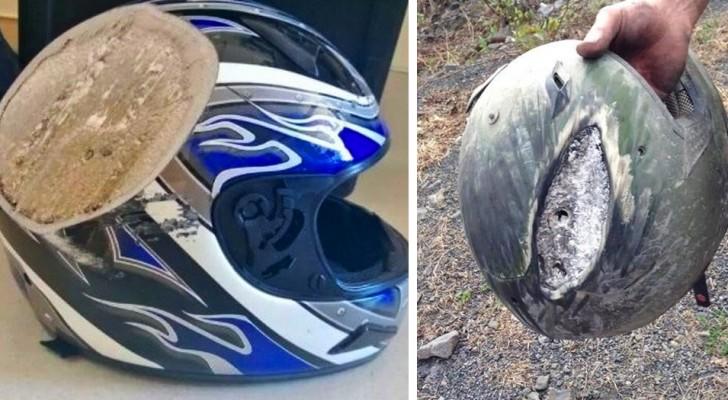 10 Fotos von zerstörten Helmen erinnern uns daran, wie wichtig es ist, einen Kopfschutz auf einem Motorrad oder Fahrrad zu tragen
