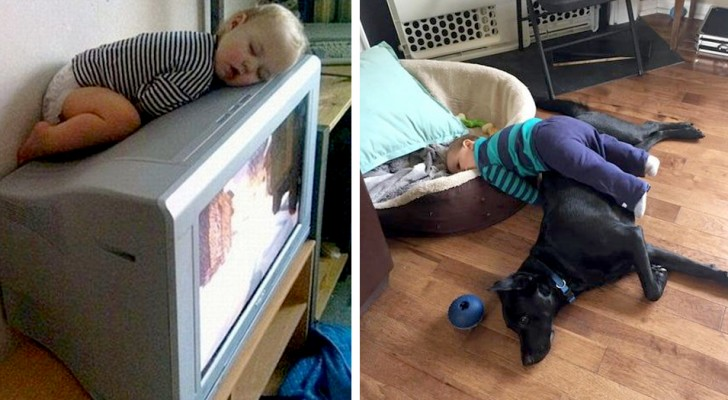 12 children who fall asleep in the strangest/most unlikely places