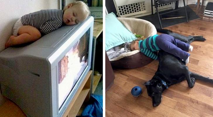12 Kinder, die an und in den unvorstellbarsten Orten und Positionen eingeschlafen sind