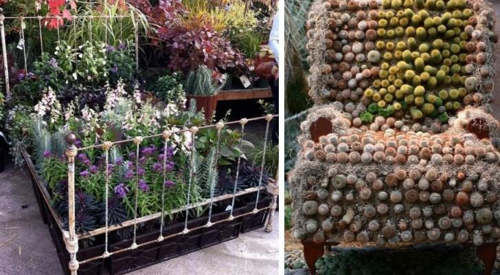 9 accattivanti spunti per riciclare mobili e oggetti casalinghi e dare un tocco magico al giardino