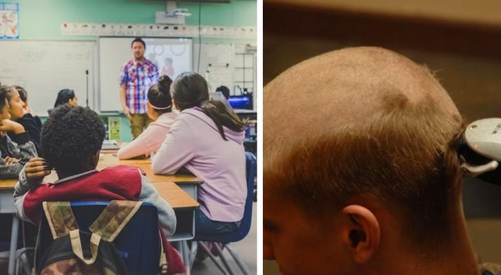 Hon driver med en klasskamrat som förlorat sitt hår på grund av kemoterapi så hennes pappa tvingar henne att raka av sig allt hår som straff