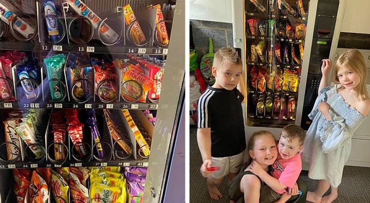Een moeder installeert thuis een snackdispenser om te voorkomen dat haar kinderen altijd ongezonde snacks eten
