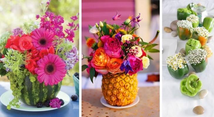 10 spunti coloratissimi per creare centrotavola fioriti dentro vasi di frutta e verdura