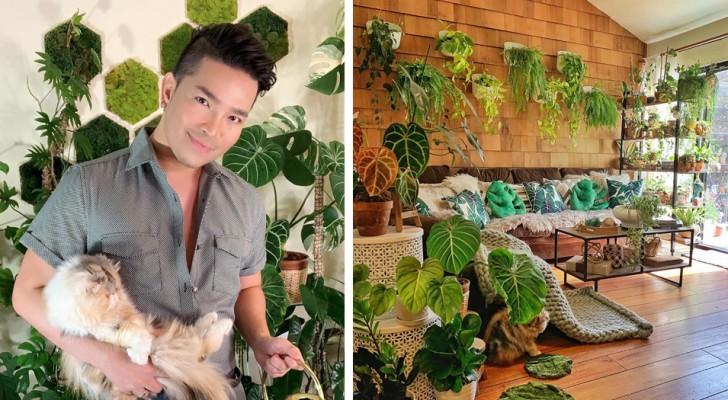 Preferisce la compagnia delle piante a quella degli esseri umani: in casa ne ha più di 200 specie differenti