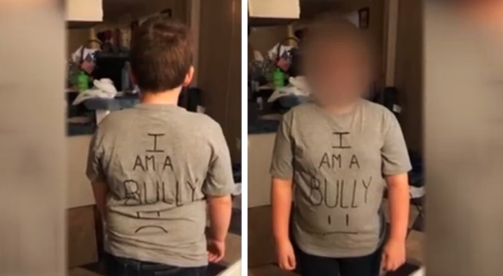 A mom discovers her son has been bullying other kids at school: as punishment, she sends him to school wearing a t-shirt that says