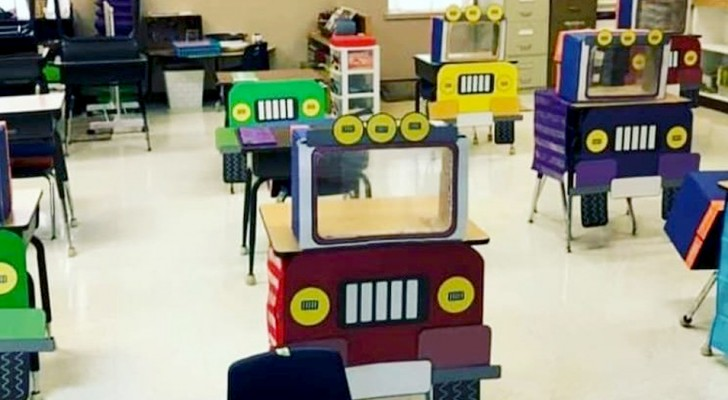 A kindergarten teacher has transformed the desks into colorful trucks to make pupils return to class with a smile