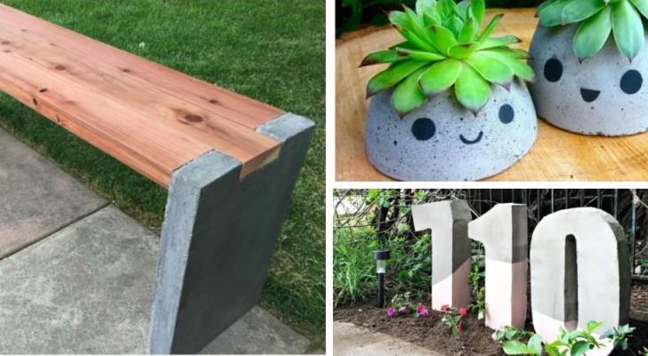 10 strepitose proposte per decorare il giardino con creazioni fai-da-te in cemento