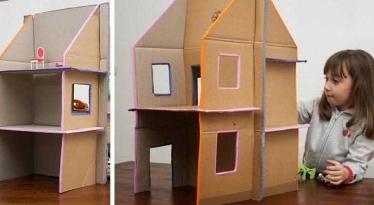 La tecnica facile e veloce per costruire una deliziosa casa delle bambole con cartone riciclato