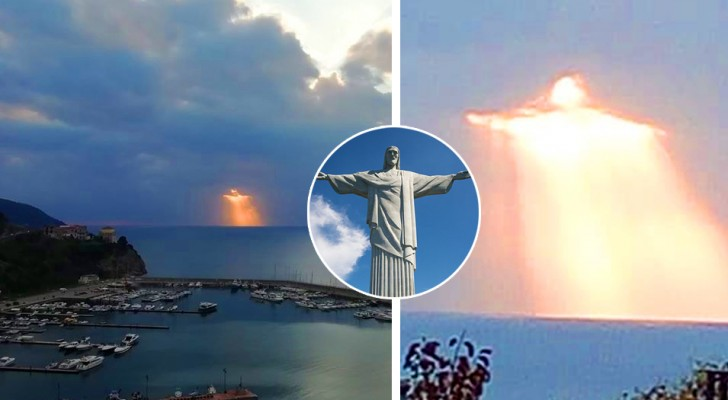 A boy photographed a beam of light between the clouds that looks like Christ the Redeemer