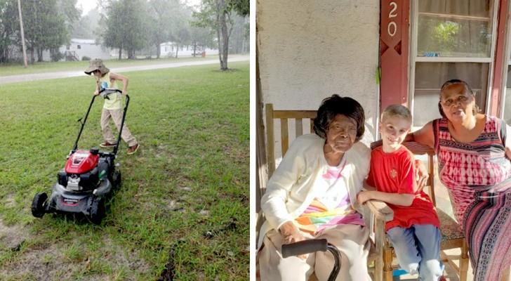 Um menino de 8 anos ajuda a aparar a grama de pessoas mais velhas e arrecada alimentos para os necessitados