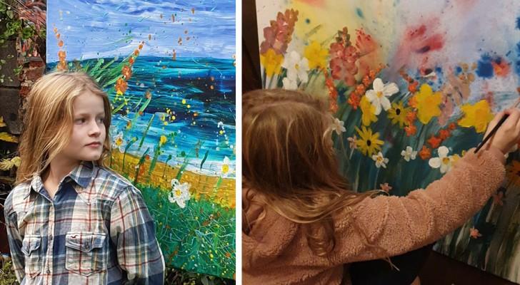 Una bambina di 10 anni vende i suoi bellissimi quadri floreali e dona tutto il ricavato in beneficenza