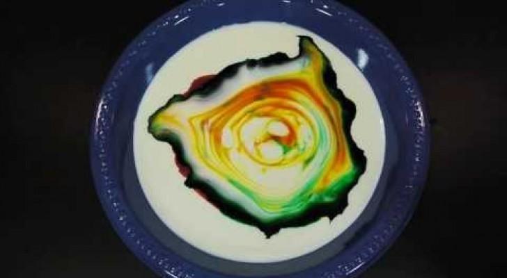 Melk, kleurstof voor voedsel en afwasmiddel: kijk eens wat er gebeurt bij het combineren