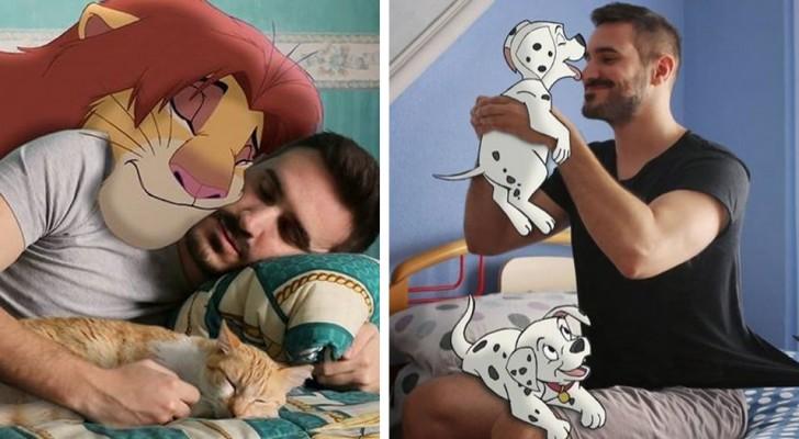 Un ragazzo crea dei deliziosi fotomontaggi in cui è in compagnia dei personaggi Disney più amati