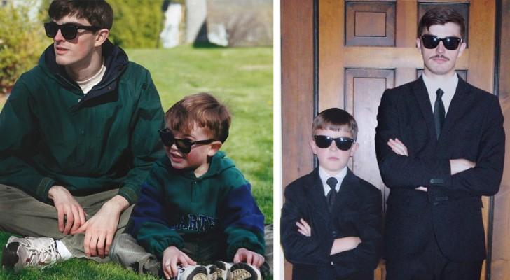 In questi fotomontaggi, un ragazzo si è inserito in vecchie foto di famiglia accanto alla sua versione da bambino