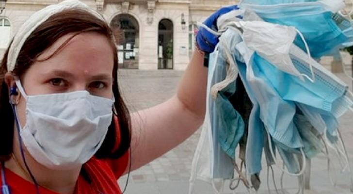 Diese Frau geht zu Fuß zur Arbeit und sammelt jedes Mal die Masken auf, die sie auf dem Weg findet: Sie hat Hunderte davon gesammelt