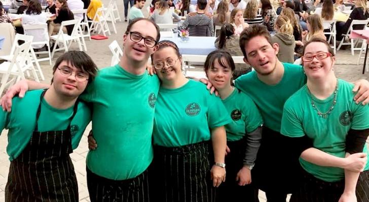 6 jóvenes con síndrome de Down abren solos una empresa que prepara pizza para los eventos: nadie quería contratarlos
