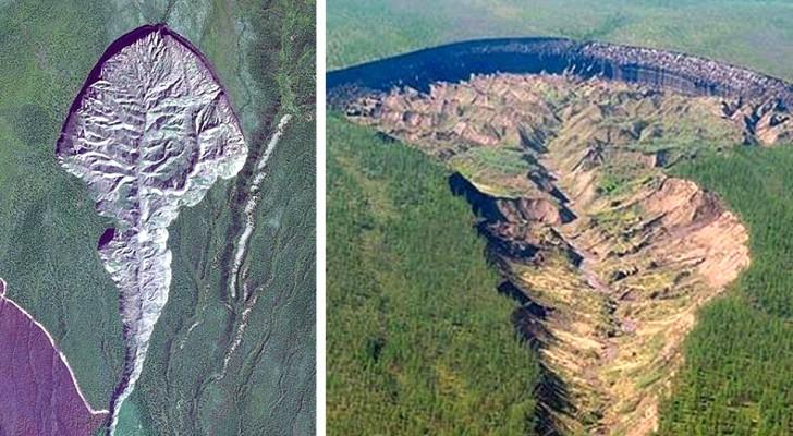 Das Tor zur Hölle: der riesige sibirische Krater, der sich im Boden geöffnet hat und immer breiter wird
