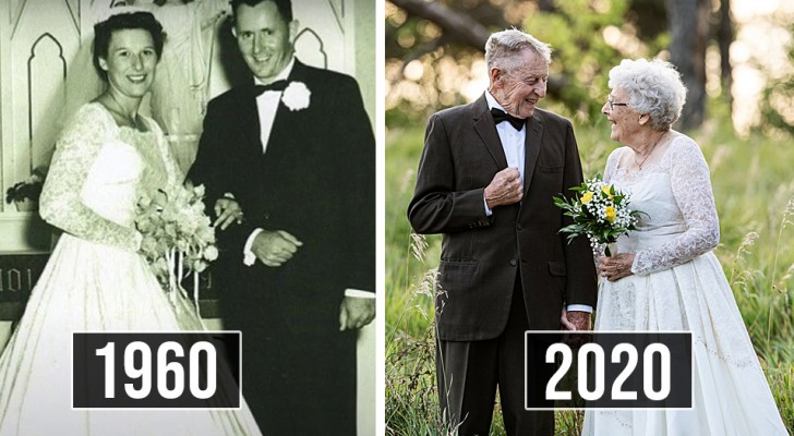 Mann und Frau zelebrieren ihre 60 Ehejahre, indem sie dieselben Kleider wie am Tag ihrer Hochzeit anziehen
