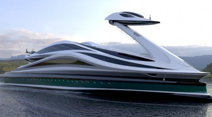 Ein italienischer Designer hat eine Luxusyacht entworfen, die der Silhouette eines sehr eleganten Schwans ähnelt