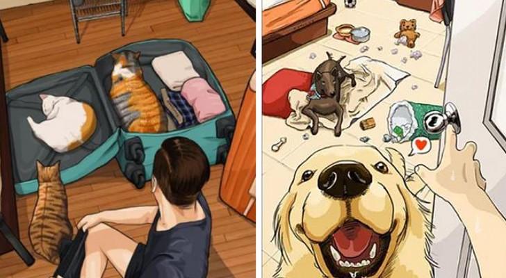 I disegni di questo artista illustrano al meglio come cambia la vita quando arriva in casa un animale domestico