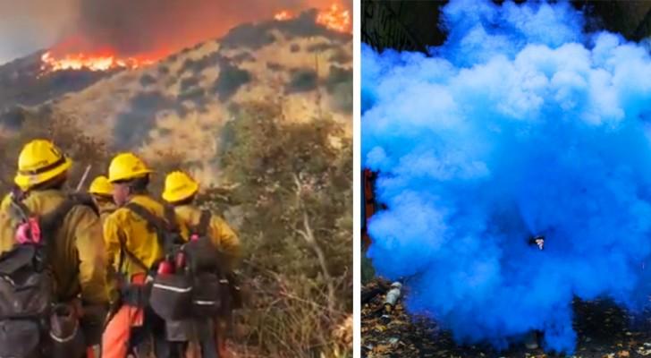 Rivelano che aspettano un figlio maschio con fuochi d'artificio ma provocano un incendio di 2800 ettari